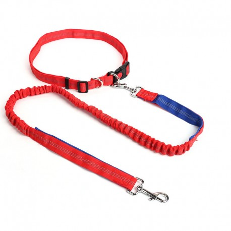 Waist Belt Hands Free Running Dog Leash Safe Night Walking Reflective Line
