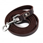 Latigo Black Soft Leather Dog Leash Training Rolled Ultra Soft