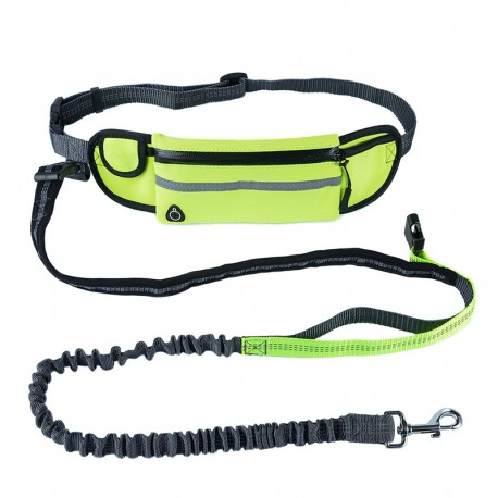 Running Reflective Bungee Dog Leash with Waist Bag Convenient Handle