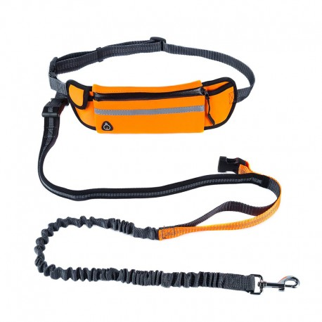 Shock Absorbing Running Bungee Dog Leash with Waist Bag Reflective Line Safe Choice