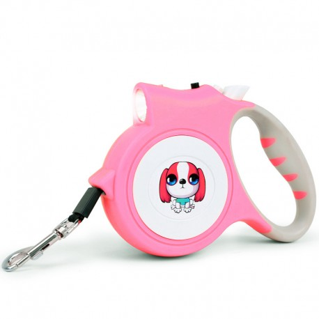 One-Button Control Cute Retractable Lighted Leash for Dog with Flashlight Smooth Function