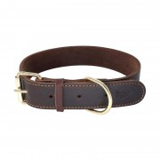 Rustic Adjustable Padded Leather Dog Collar Lightweight Comfortable on Neck
