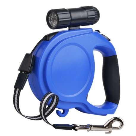 Smooth Working Long Retractable Dog Leash with Flashlight Gel-Cushioned Handle