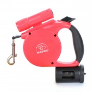 Free Poop Bag Retractable Dog Leash Heavy Duty Poop Bag Dispenser Flashlight Included 360°Tangle Free