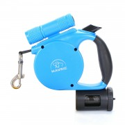 Durable Retractable Quick Release Dog Leash with Waste Bag Dispenser Light Up