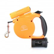 Outdoor Reflective Retractable Dog Leash with Light Waste Bag Dispenser