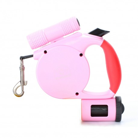 Reflective Retractable Dog Walking Leash with LED Flashlight Waste Bag Dispenser