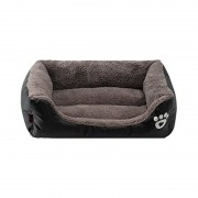 Bolster Dog Bed Suede Sleeper with Paw Prints Combines Stylish and Comfort