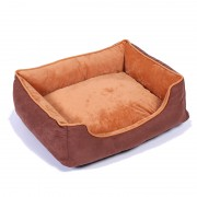 Bolster Dog Bed with Memory Foam for Best Comfort (Brown)