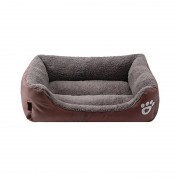 Bolster Dog Bed Rectangle Cuddle with Suede Cover and Thick Pillow for Extra Support