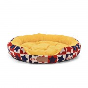Round Dog Bed Bolster Sleeper with Soft Plush Sleep Surface for Additional Comfort