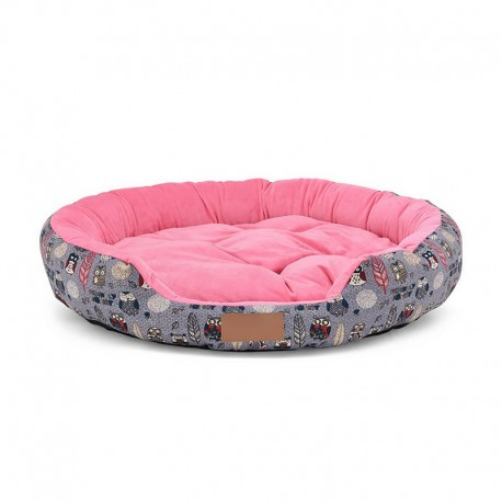 Round Dog Bed Suede Cover Bright Color Offer Best Comfort for Pets