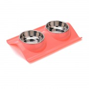 Double Dog Bowl Elevated Design with Bright Color for Comfortable Eating