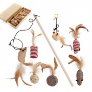 Mice and Animal Cat Toy with Feather to Keep Cats Busy Healthy and Happy