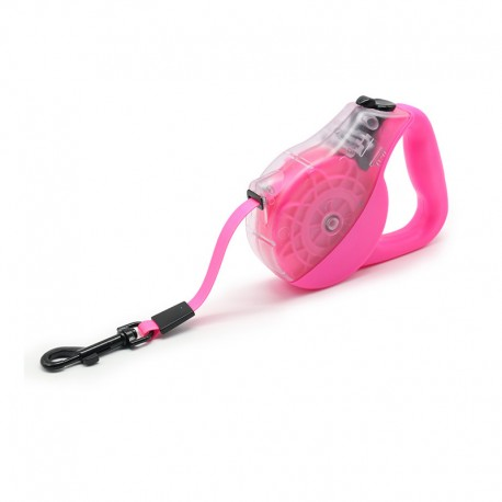 Pink Lightweight Dog Leash Retractable System Convenient Brake and Lock