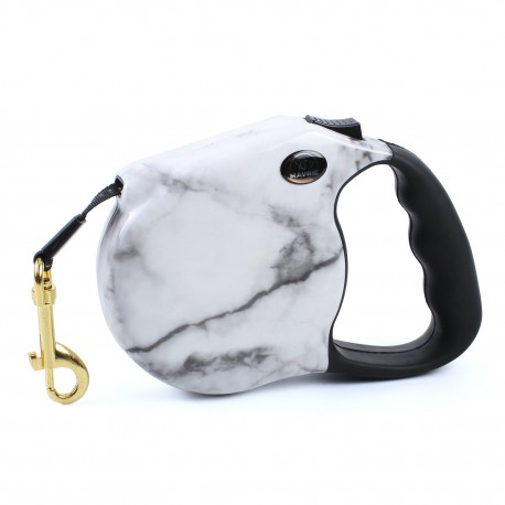 Marble Pattern Case Tangle Free Dog Leash Fashion Walking Design White Color