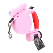 Dog Leash | Light Up Dog Leash | Retractable Dog Leash One Hand Control Convenient Design Pink