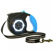 Dog Leash | Lighted Dog Leash | Retractable Dog Leash with LED Lights for Medium and Small Pets Blue
