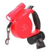 Retractable Dog Leash | Dog Leash with Flashlight | Dog Leash Soft Grip Easy Control Red
