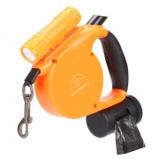 Retractable Dog Leash | Lighted Dog Leash | Heavy Duty Dog Leash with Bright Light Tangle Free Control Orange
