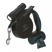 Dog Leash | Long Dog Leash | Retractable Dog Leash with Flashlight and Waste Bag Black